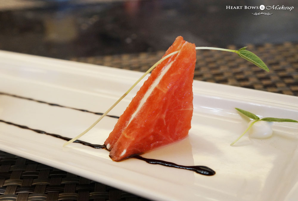 Ssence Restaurant, The Suryaa Hotel Review: Watermelon With Cheese