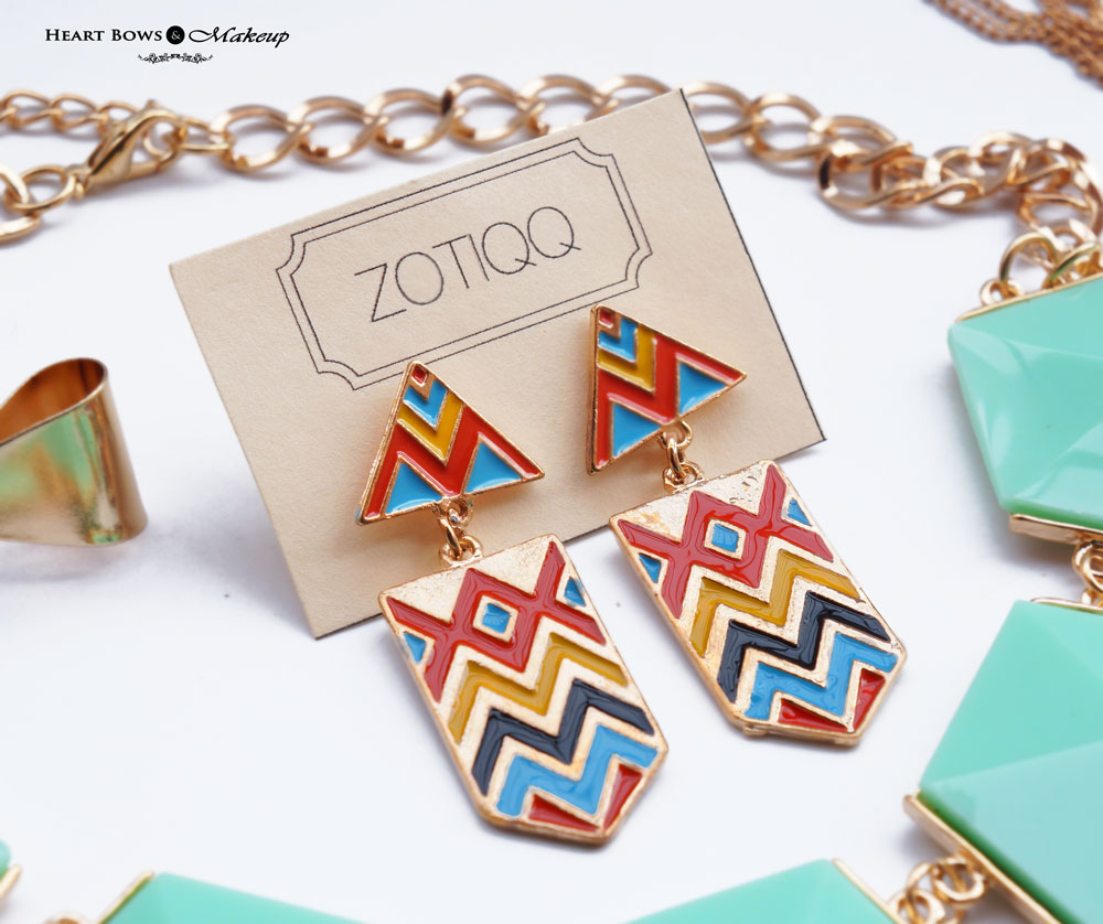 ZOTIQQ Fashionista September Jewellery Box Review: Colorful Aztec Earrings
