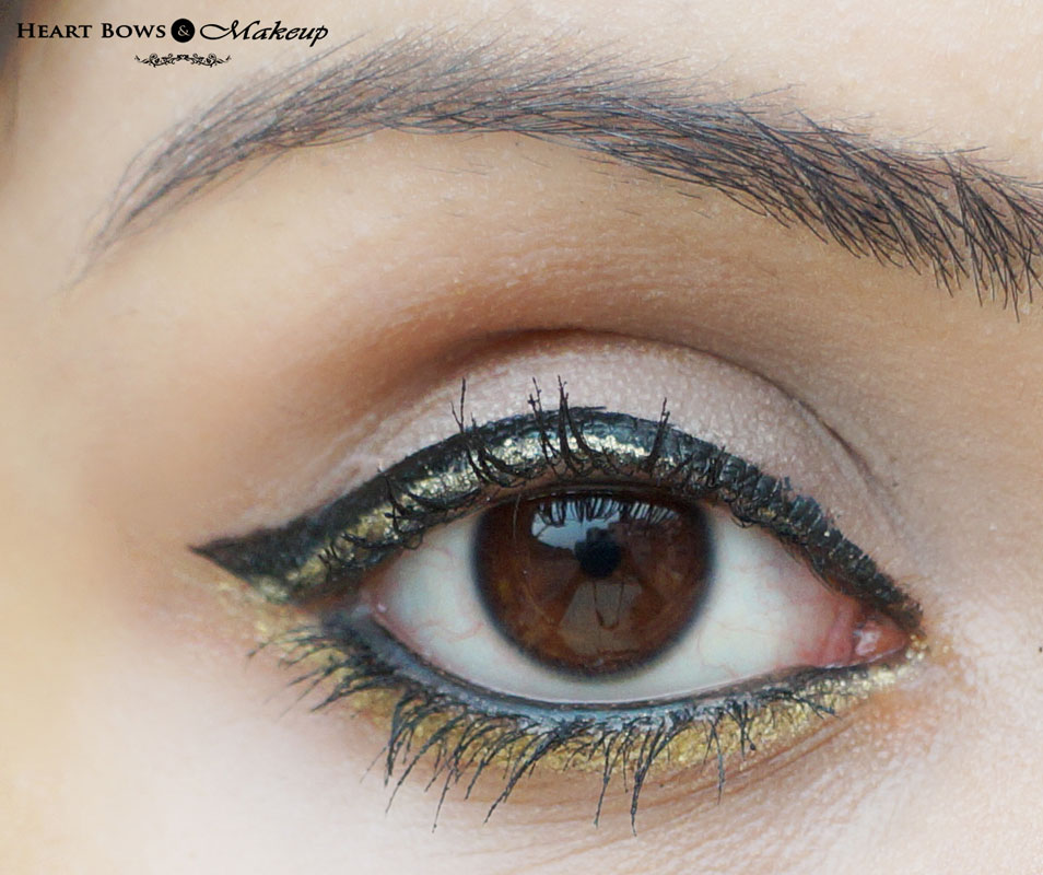 elf Cream Eyeliner Golden Swatch, Eyemakeup, EOTD & Review