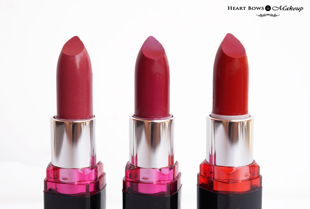 Maybelline Color Show Lipsticks 109 Violet Fusion, 112 Fuchsia Fantasy & 208 Red Twilight Review & Swatches