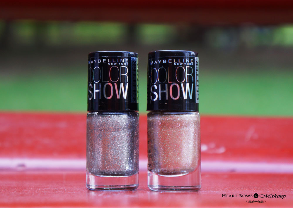 Maybelline Color Show Glitter Mania Nail Polishes Dazzling Diva & All That Glitters Review, Swatches & Price India