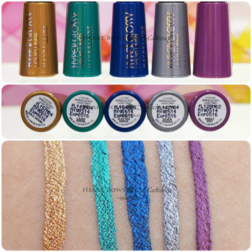 Maybelline Hyper Glossy Electrics Eyeliner Review & Swatches: Gold-ination, Lazer Green, Electro Blue, Silver Trance, Violet Volt
