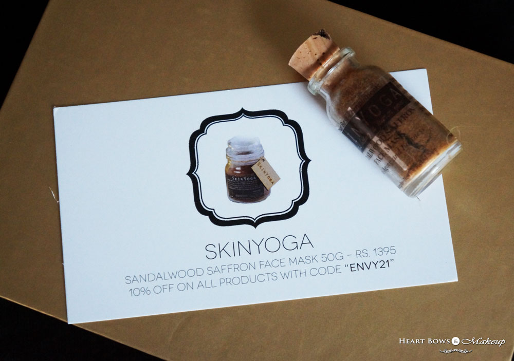 My Envy Box October Samples: Skinyoga Sandalwood Saffron Face Mask