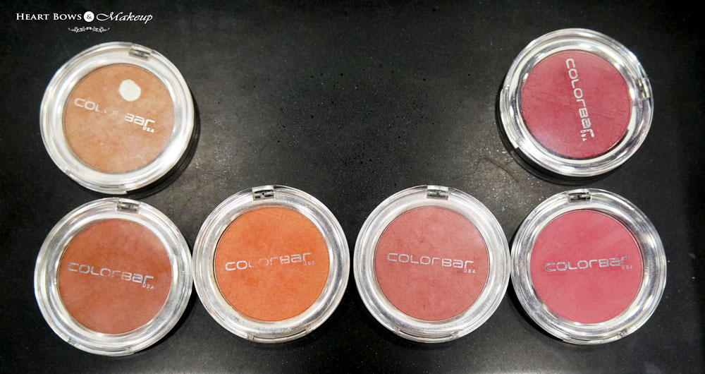 Colorbar Cheek Illusion Blush Review & Swatches: Pink Pinch 008, Coral Craving 009, Everything's Rosey 010, Bronzing Glaze 011,  Earthy Touch 012, Rosey Peach 013
