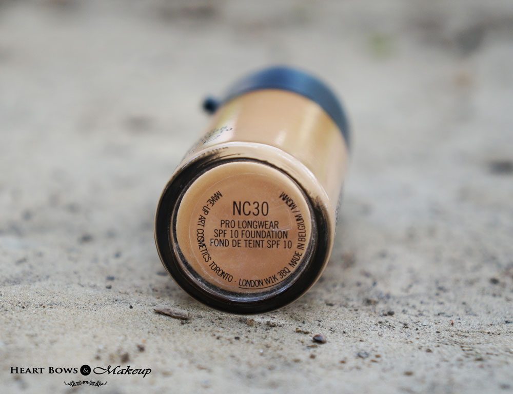 MAC Pro Longwear Foundation Review & Swatches NC 30