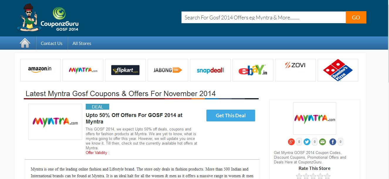GOSF Myntra 2014 Offers & Discounts