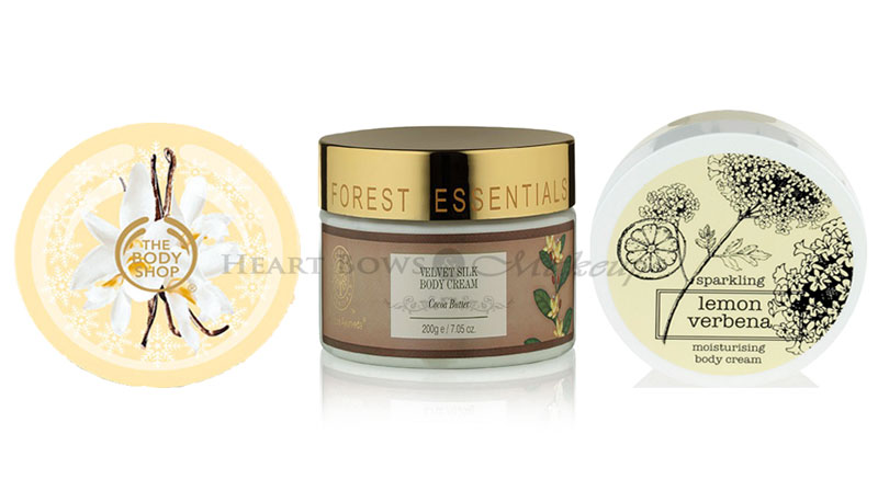 Affordable Best Body Butters For Dry Skin: TBS Vanilla Bliss, Forrest Essentials Cocoa Butter, M&S Sparkling Lemon Verbena Body Cream