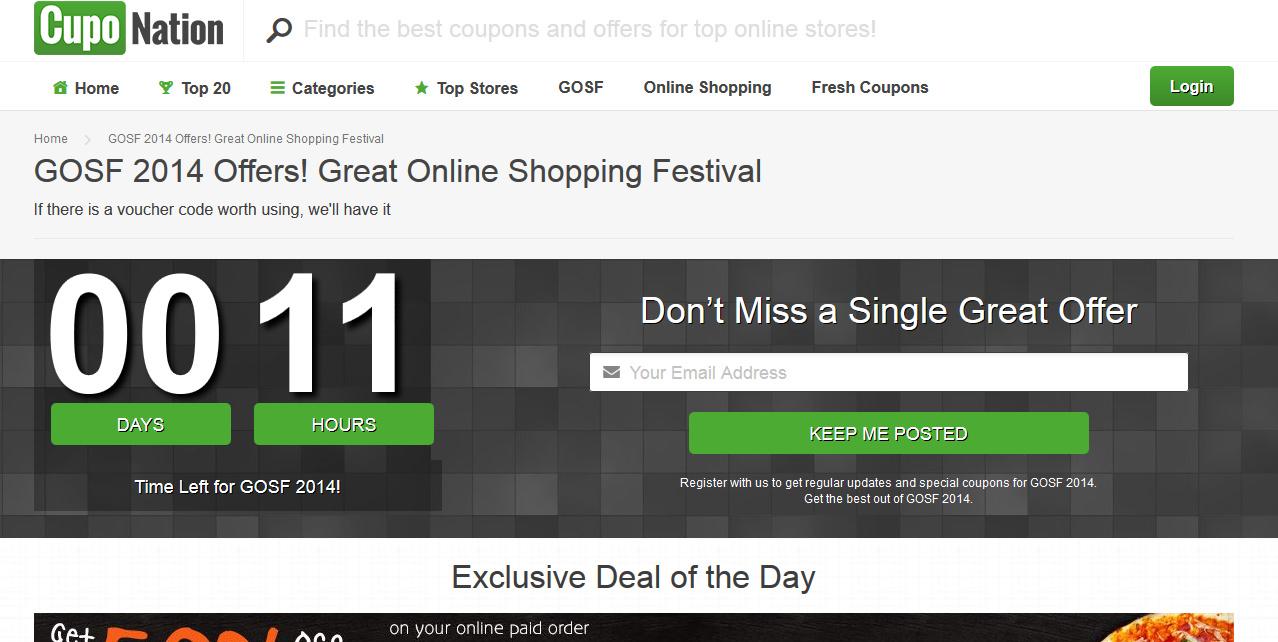 Cuponation GOSF 2014 Sale & Discounts
