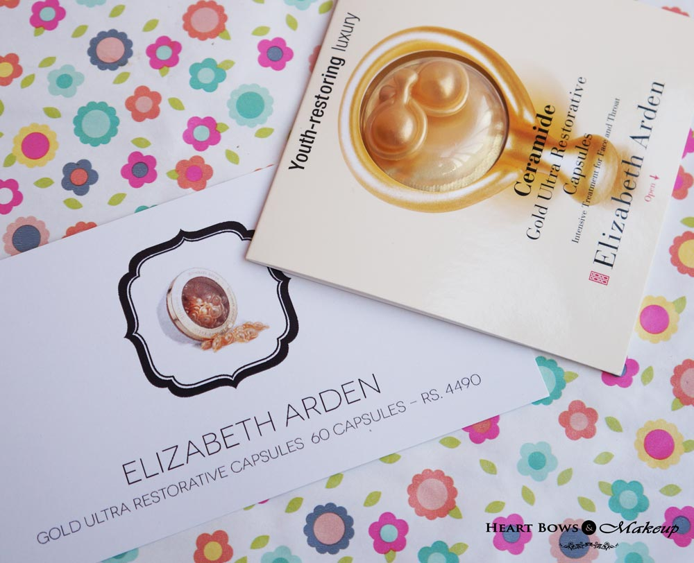 Beauty Sampling Box India: Elizabeth Arden Gold Ultra Restorative Capsules