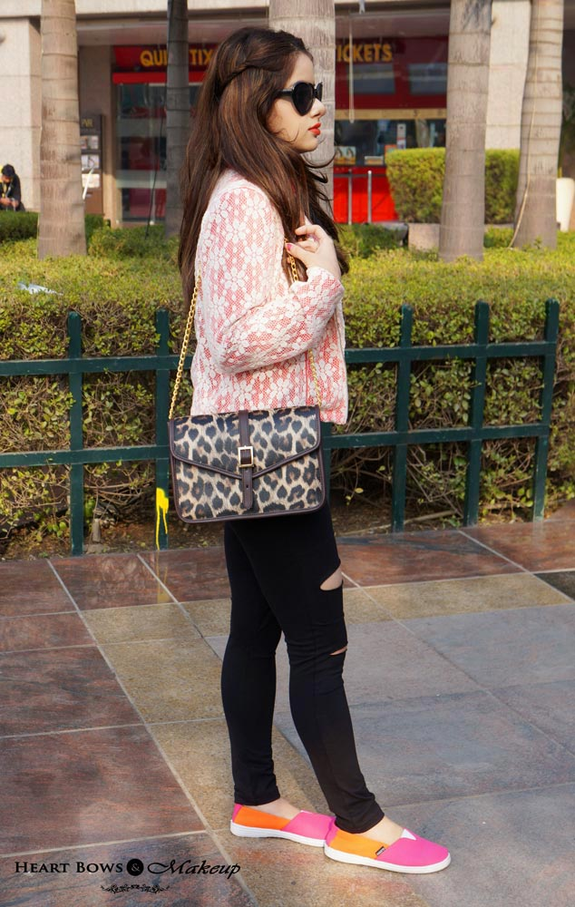 Indian Beauty Blog: Grunge with Black Ripped Leggings & Coral Blazer & Loafers