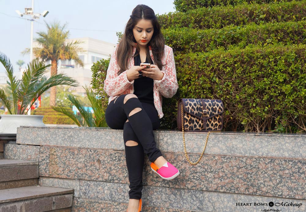 Indian Fashion Blog: Coral Blazer & Ripped Pants in India