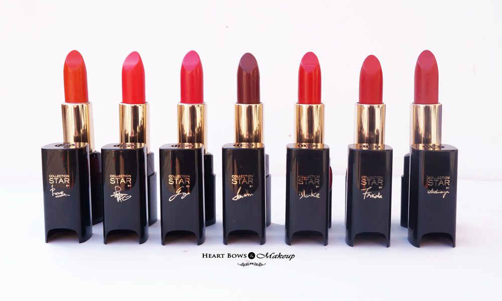 L'Oreal Collection Star Red Lipsticks Review, Swatches & Shades (L-R) Pure Fire, Pure Vermeil, Pure Amaranthe, Pure Garnet, Pure Scarleto, Pure Rouge, Pure Brick