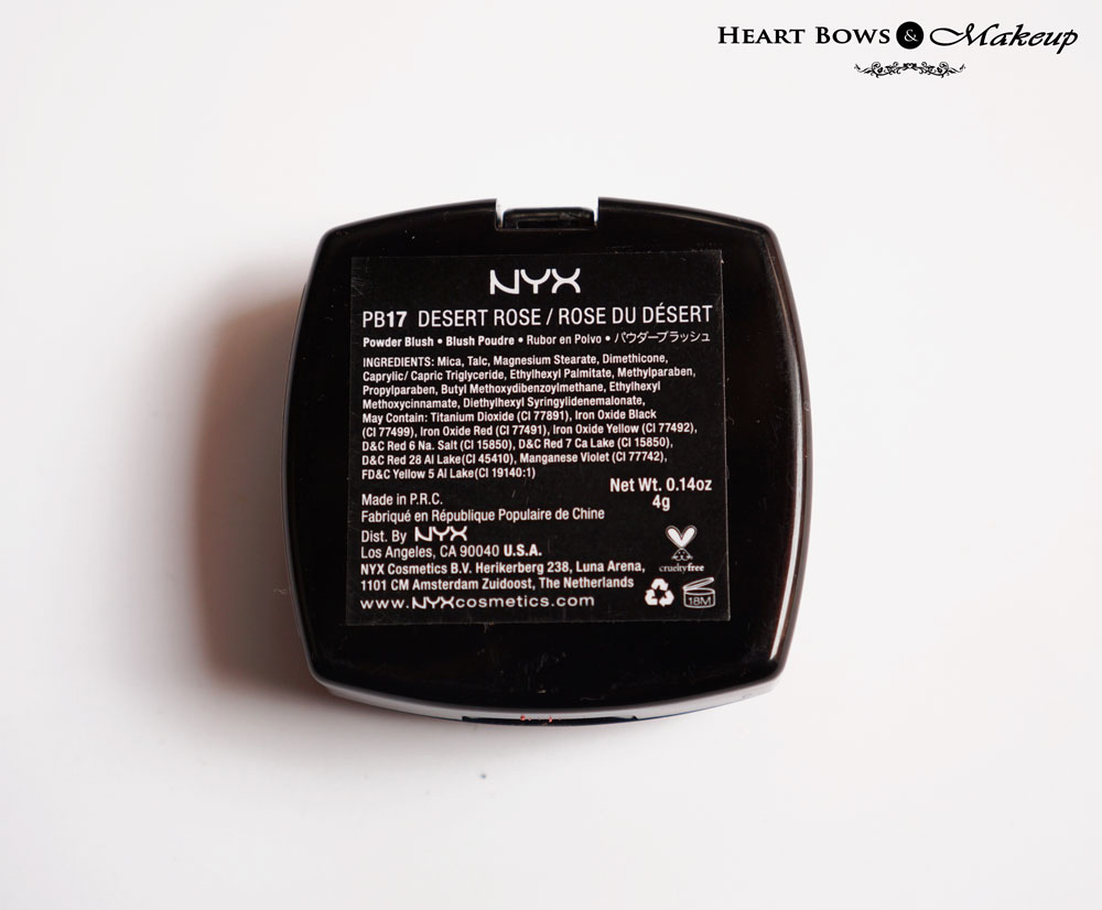 NYX Powder Blush PB 17 Desert Rose Price & Ingredients