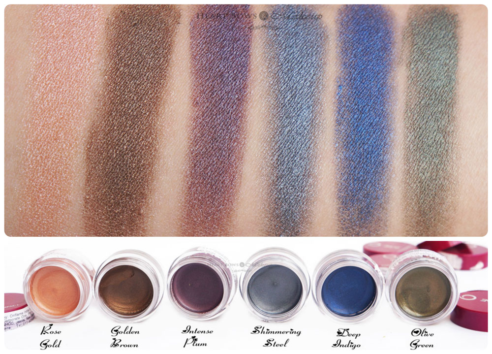 Oriflame The ONE Colour Impact Cream Eyeshadow Swatches, Shades & Review: Rose Gold, Golden Brown, Intense Plum, Shimmering Steel, Deep Indigo, Olive Green