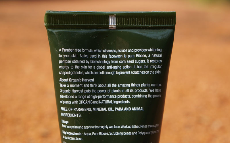 Organic Harvest 3 in 1 Face Wash Ingredients Review