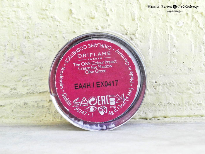 Oriflame Cream Eyeshadow Olive Green Review