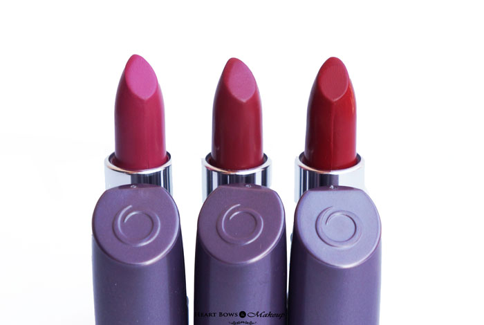 Oriflame The ONE Matte Lipstick Pink Raspberry, Wild Rose & Red Seduction Review & Swatches