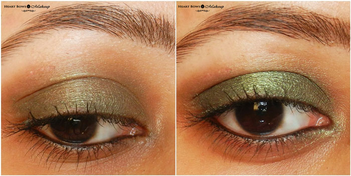 Oriflame The ONE Olive Green Colour Impact Eyeshadow Swatches, Review & Eyemakeup:The Best Cream Eyeshadow in India