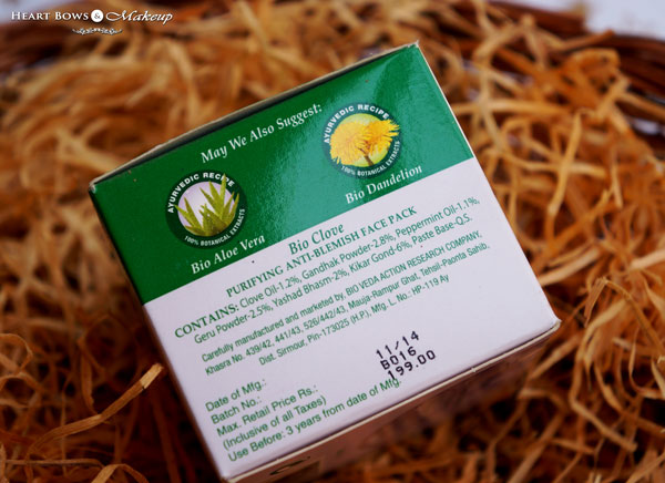 Biotique Purifying Anti Blemish Face Pack Ingredients & Review