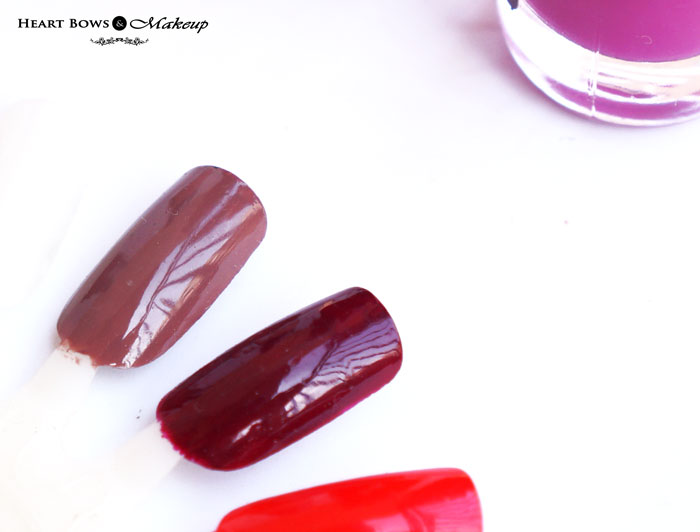 Oriflame The ONE Long Wear Nail Polish Ruby Rouge & Cappuccino Swatches & Review