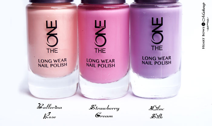 Oriflame The ONE Long Wear Nail Polish Ballerina Rose, Strawberry Cream & Lilac Silk Review & Swatches