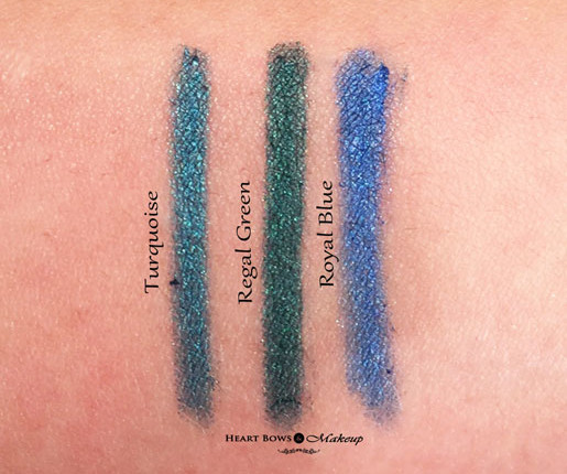New Lakme Eyeconic Kajal Review Swatches Turquoise Regal Green Royal Blue