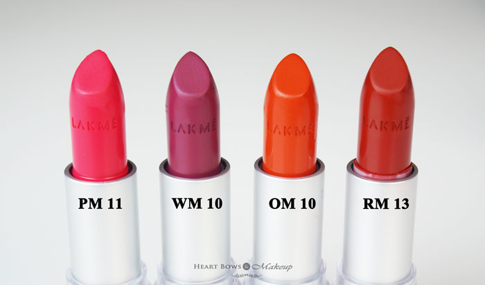Lakme Enrich Matte Lipstick PM 11 WM 10 OM 10 RM 13 Swatches Review