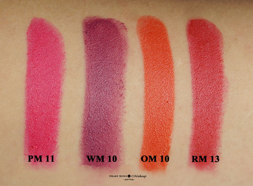 New Lakme Enrich Matte Lipstick ShadesPM 11 WM 10 OM 10 RM 13 Swatches Review