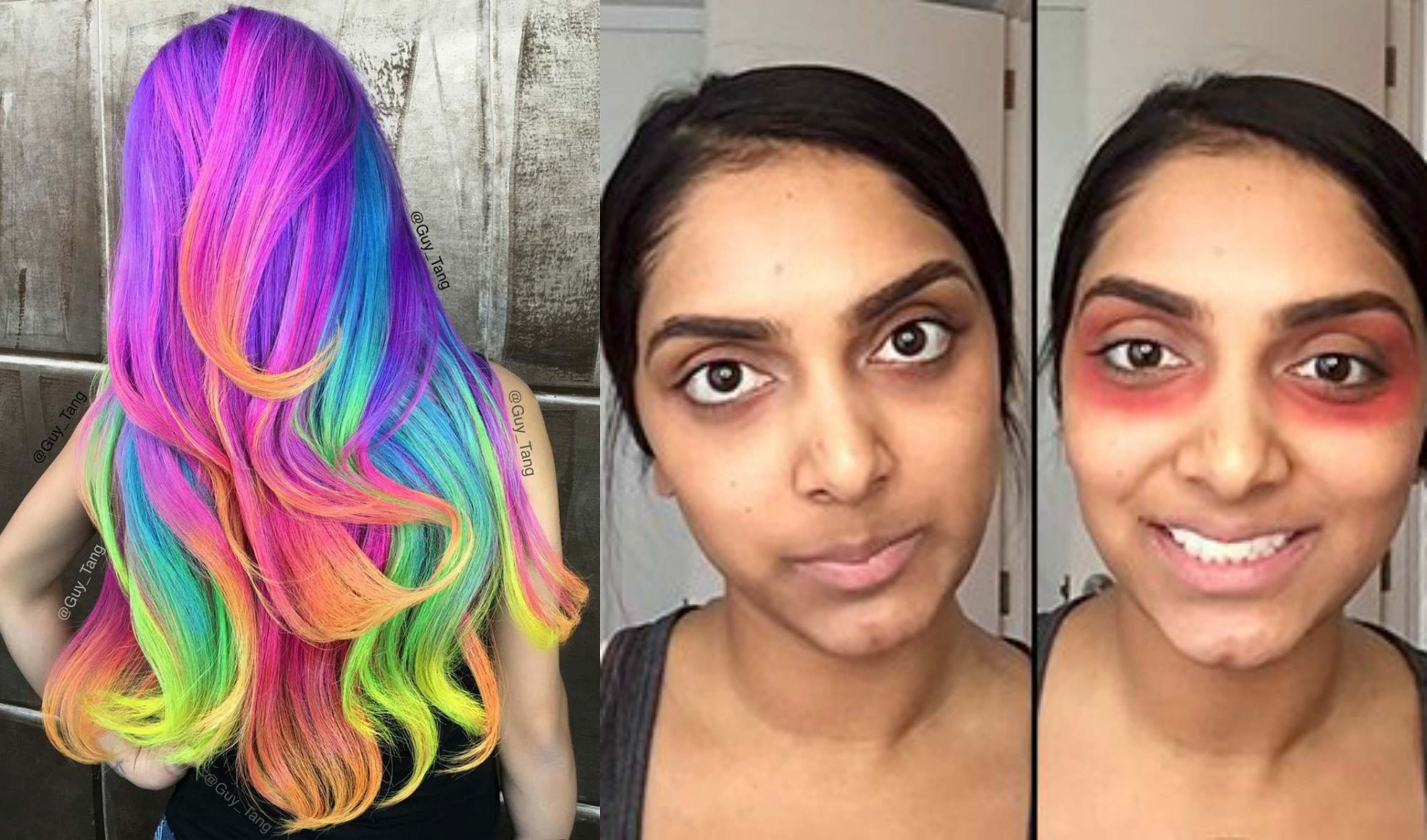 Latest Beauty Trends Rainbow Hair Red Lipstick Under Eye