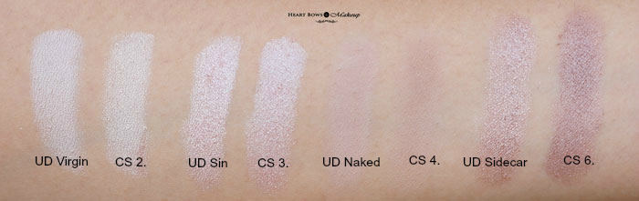 Urban Decay Naked 1 Coastal Scents Revealed Palette Comparison Swatches
