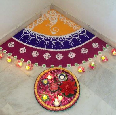 Best Corner Rangoli Pattern For Homes