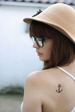 Best Small Side Shoulder Tattoo Anchor