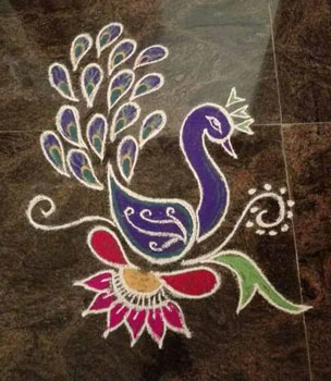 Easy Peacock Rangoli Design For Home Small
