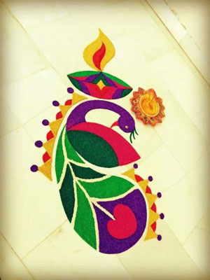 Easy Small Peacock Rangoli Designs 2016
