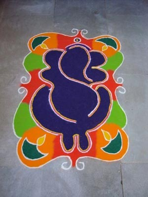 Simple Ganpati Rangoli Designs Pictures