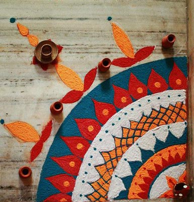 Small Corner Rangoli Designs For Beginners