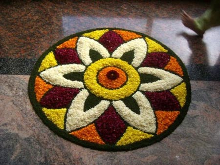 Small Floral Rangoli Designs For Homes