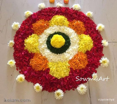Small Flower Rangoli Design Pattern 2016