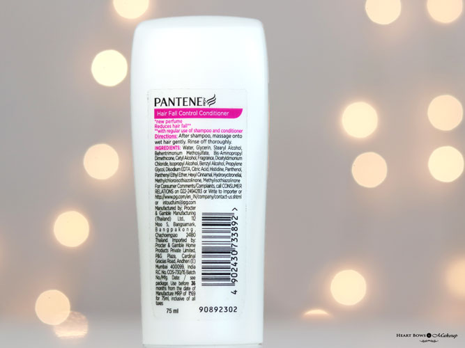 Pantene Hair Fall Control Conditioner Ingredients Review